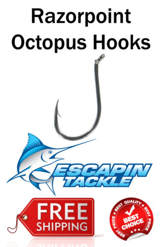 Increase your catch rate 7//0 RazorPoint Octopus Hooks 25pc Chemically Sharpened