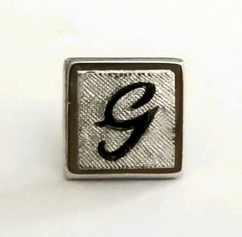 Vintage 1960s to 1970s C Silver Tone and Black Swank Tie Tack Square NOS Letter Initial Mans Accessory