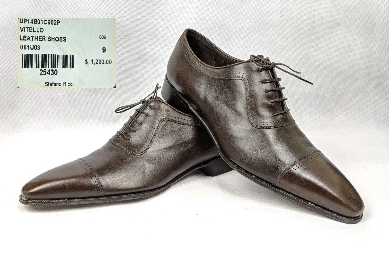 100% Authentic STEFANO RICCI Vitello Leather Cap Toe shoes 9  US10  43 NEW  1200