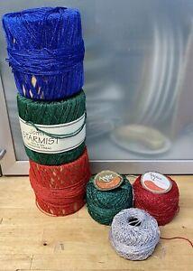 Metallic-Decorative-Yarn-Wool-Lot-Anchor-Artiste-Jomil-Silver-Red-Green-Blue-6I