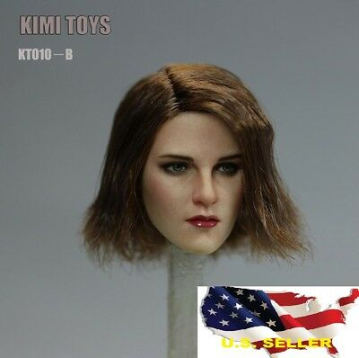 "1//6 female head short hair brown for Phicen hot toys 12/"" figure CT016A ❶USA❶"