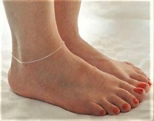 Handmade-Super-Fine-Ankle-Bracelet-Anklet-Silver-plated-chain-Pretty-Bare-Feet