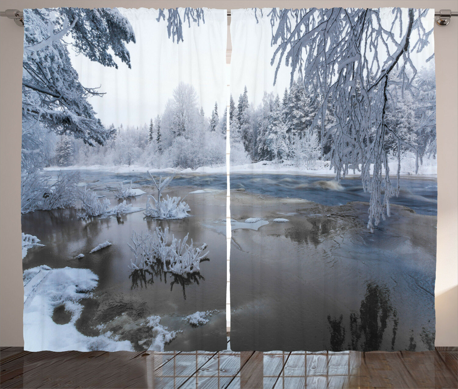 Winter Curtains Nordic Snow Nature Icy Window Drapes 2 2 2 Panel Set 108x84 Inches c4a2a2