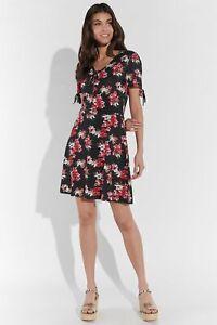 Vestino Damen Mini-Kleid Viskose-Jersey Blumen-Druck knielang Sommermode Sommer