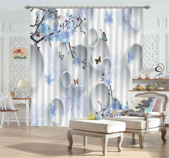 Light Blue Plum Blossom 3D Curtain Blockout Photo Printing