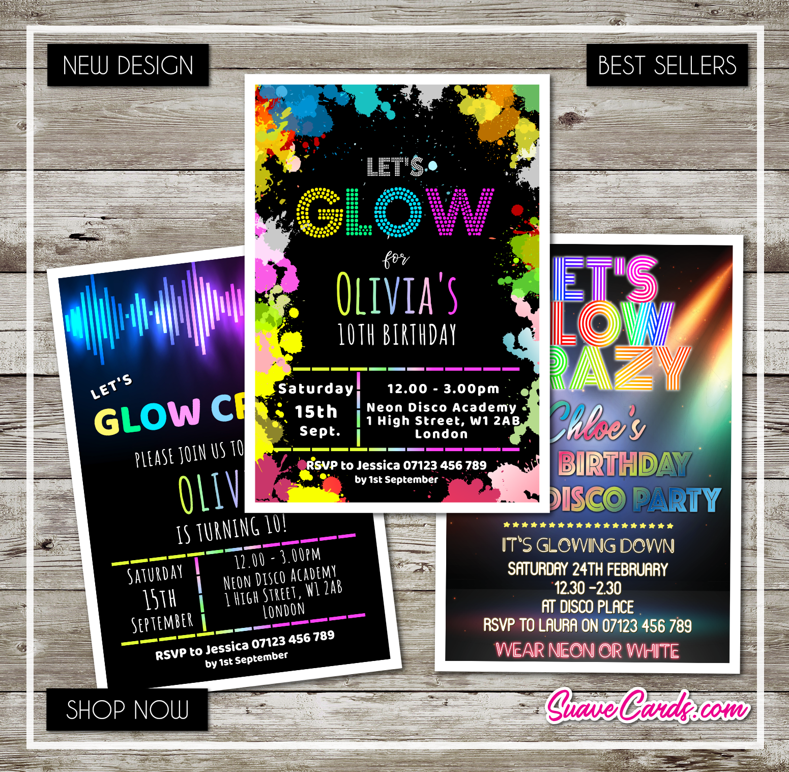 Neon Glow Invitation Personalised UV Birthday Party Invites Glow in the Dark