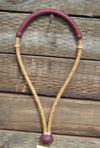 1-4-034-Hand-Braided-Rawhide-Pencil-Bosal-with-Burgundy-Latigo-Leather-Nose-amp-Knot