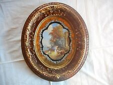 """Beautiful Vintage Round Wood Ornate Gilt Gold Foil 15"""" x 13"""" Picture Frame"""
