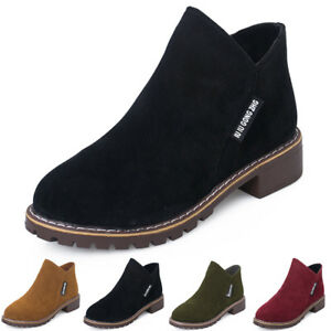 Womens-Short-Booties-Low-Ankle-Round-Toe-Zipper-Leather-Boots-Casual-Shoes-Sizes