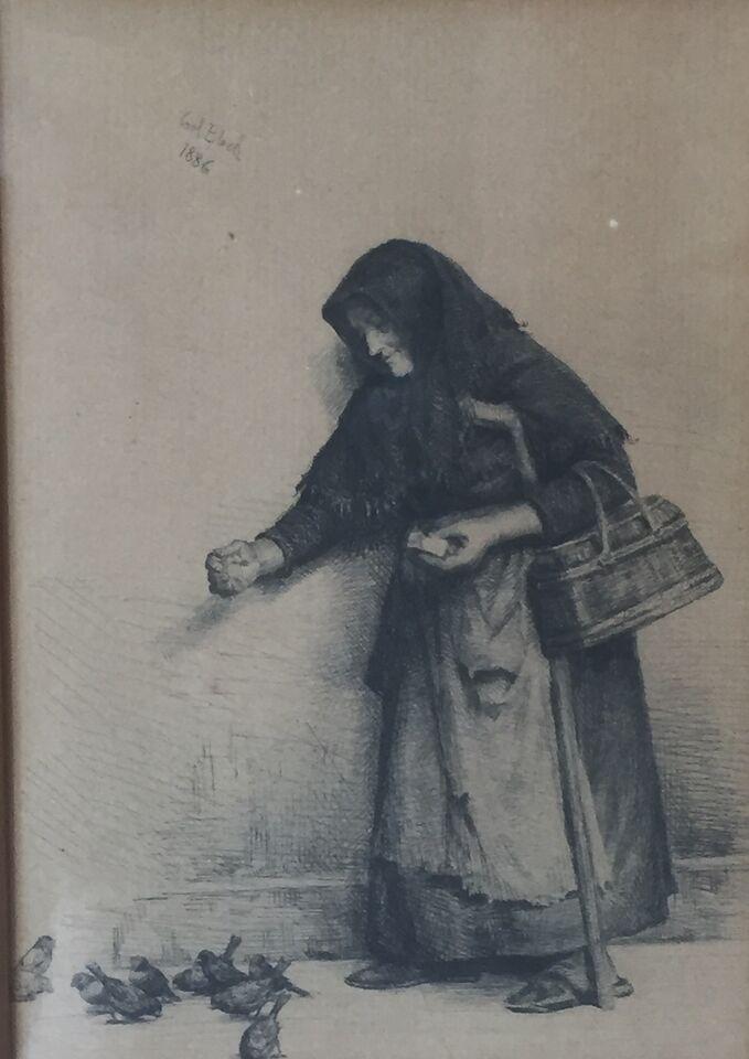 Radering, Carl Bloch (1834-1890)