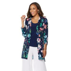 Slinky Brand Women/'s 3//4 Sleeve Printed Cardigan Jacket Multi-Color Small Sz HSN