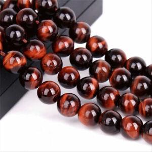 4-6-8mm-Natural-Red-Tiger-039-s-Eye-Gemstone-Round-Loose-Spacer-Beads-15-034