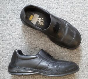 Details zu Rieker Herren Slipper * Gr. 41 * Echt Leder * schwarz * Schuhe Halbschuhe