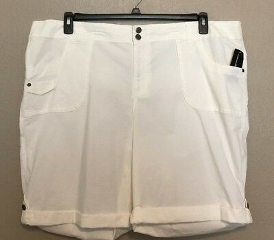 Frank Inc International Concepts Women's New White Cargo Roll-tab Shorts Plus Size 24w Pretty And Colorful Mixed Intimate Items