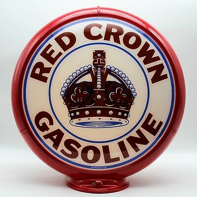 """MADE IN THE USA!! RED CROWN GASOLINE 13.5/"""" Gas Pump Globe SHIPS FULLY ASSEMBLED"""