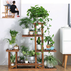 Wood-5-Tier-11-Pot-Plant-Stand-Flower-Shelf-Rack-Wrought-Holder-Indoor-Garden-US