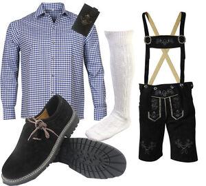 Herren-Kurz-Trachtenset-Trachten-Lederhose-Trachtenhose-Hemd-Schuhe-Socken