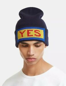 2cb62006837 Image is loading Authentic-FENDI-Navy-Yes-Vocabulary-Unisex-Beanie-Hat-