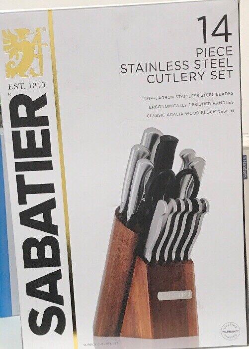Sabatier 14 pièces en acier inoxydable couverts avec Acacia Bloc