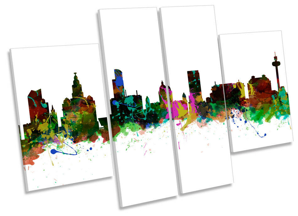 City of Liverpool Skyline Modern CANVAS WALL ART MULTI Panel Picture Print