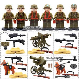 D71001 World War II WW2 Military Trooper Minifigure 6 pcs set