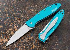 KS1660TEAL Kershaw Leek Teal O/A 14C28N Blade 6061-T6 aluminum handles Made USA