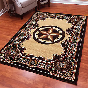 Texas Star Western Lodge Black Brown Area Rug Free Shipping Ebay