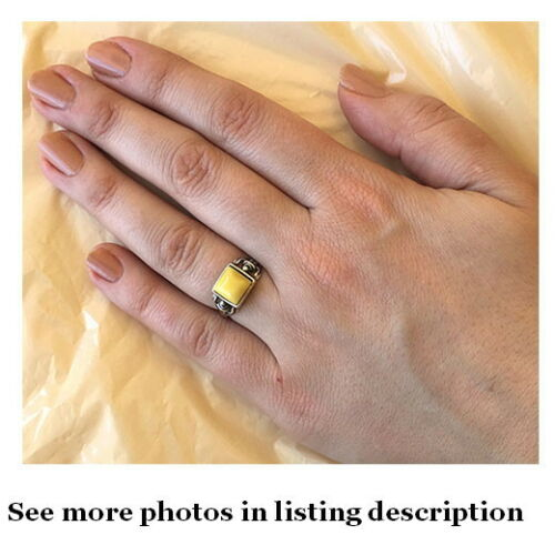 BALTIC BUTTERSCOTCH GREEN or HONEY AMBER STERLING SILVER HANDMADE RING
