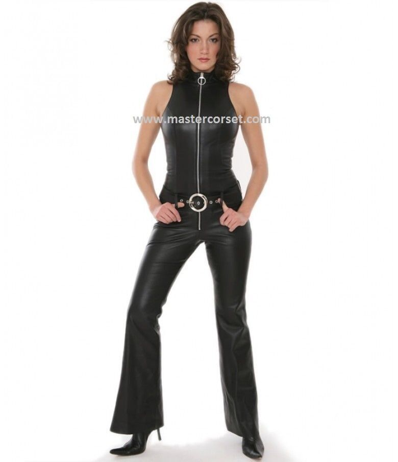Catsuit jumpsuit sleeve less genuine leather  Manches en cuir moins de costumes