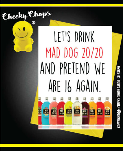MAD DOG 20 20 C124 Greetings Card Friends Vintage Retro Drinking Funny