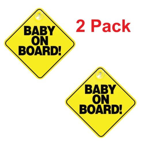 New CHILD ON BOARD CHILD SAFETY SUCTION CUPS CAR VEHICLE SIGNS CHILD ON BOARD