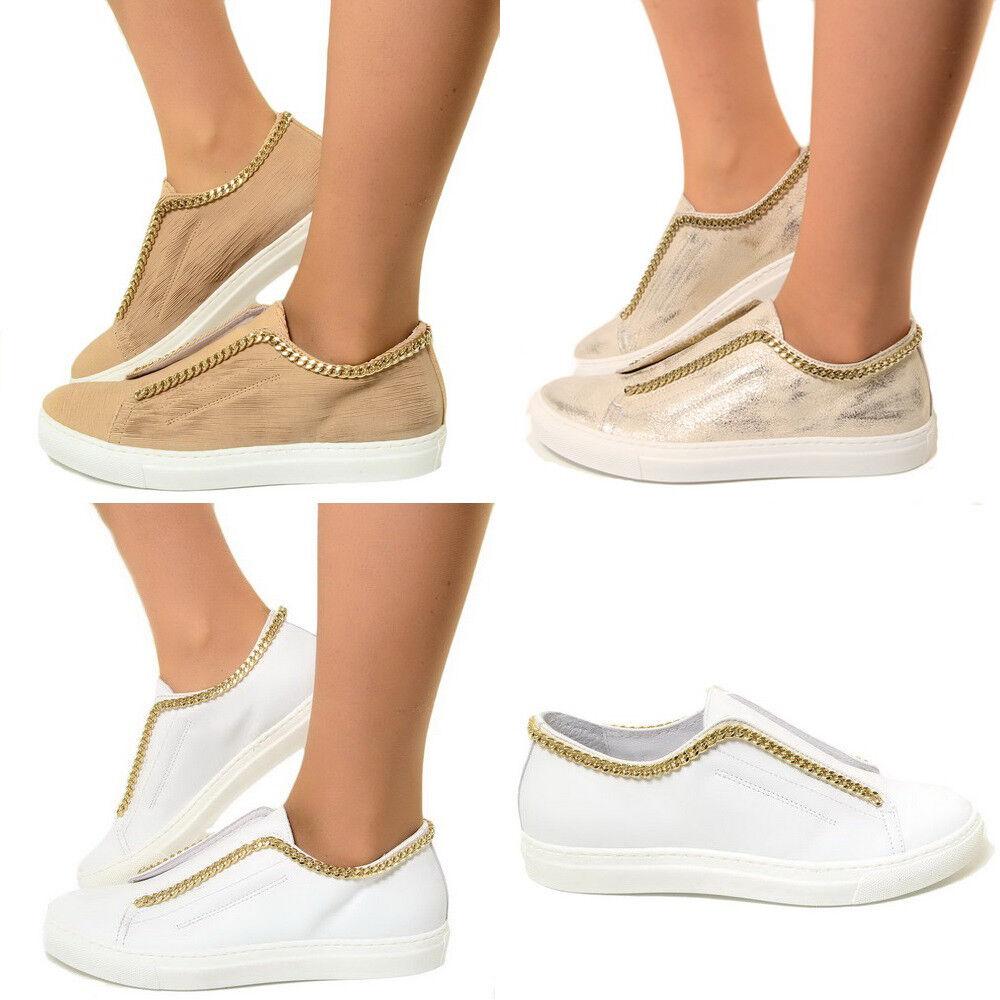 Sneakers Donna in Pelle Slip On con Catenina Scarpe Sportive Tennis 2651