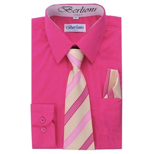 Berlioni Kids Boys Long Sleeve Dress Shirt With Tie and Hanky Fuchsia