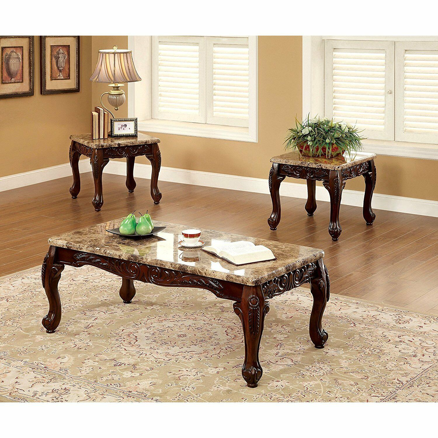 - Transitional Wood Glass Top 3 Piece Living Room Accent Table Set