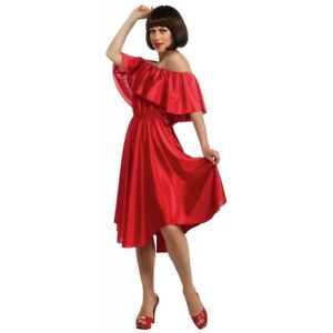 Saturday Night Fever Red Dress Adult Womens Disco Dance 70s Costume Fancy Dress