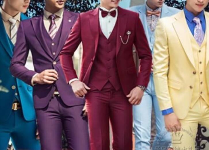 3 Pieces Men Suits Coats Vest Pants Fromal Slim Fit Lapel Wedding Cool Suits HOT