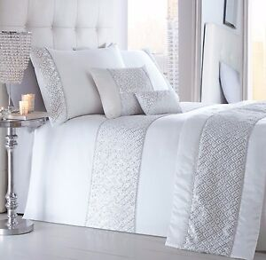 Image Is Loading Luxury White Glitzy Diamante Sequin Bling Duvet Cover