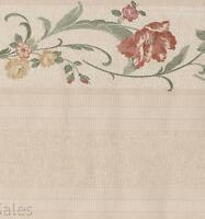Neutral Tan Beige Floral Stitched Embroidered Flowers Tall Wall Wallpaper Border