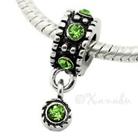 Peridot Green European Charm Bead For Bracelet - August Birthday Birthstone