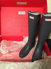 Hunter Women's Original Tall Refined Strap Welly Boots U.K. 6 Dark Slate/ Black