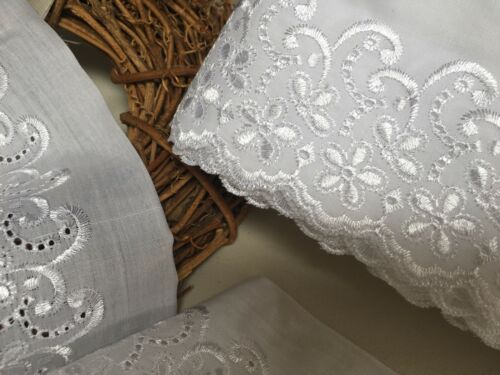 "*New* Beautiful 3/""//7.5cm White Cotton Flat Broderie Anglaise Lace Trim x 5 Metre"