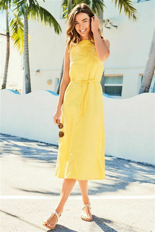 BNWT NEXT LINEN MIX YELLOW EMBROIDED MIDI DRESS BEACH COVER UP SIZE 12