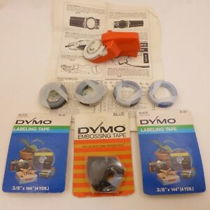 Vintage-DYMO-Collection-ORANGE-Radio-Shack-Label-Maker-7-Black-amp-Blue-Tape-Rolls