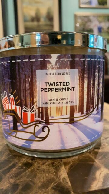 BATH & BODY WORKS TWISTED PEPPERMINT SCENTED CANDLE 3 WICK 14.5 OZ