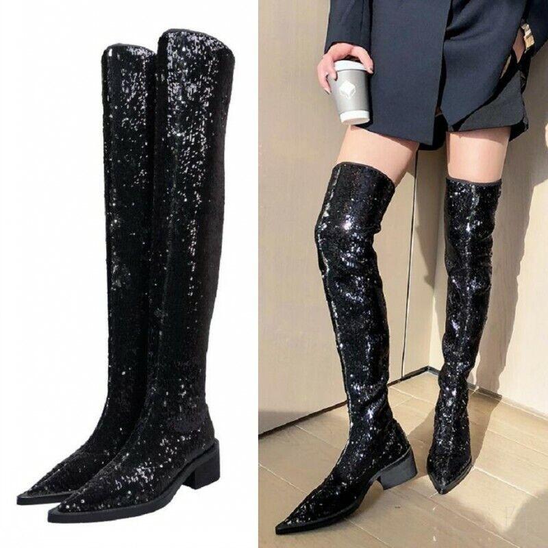 Europa Damenstiefel Bling Bling Celebrity Gift Paillette Overknee Stiefel Gothic