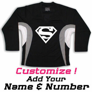 Image is loading SUPERMAN-Graphic-On-Hockey-Practice-Jersey-Name-amp- c6154583d7d