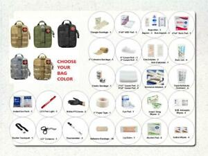 85 Piece Deluxe EDC IFAK Emergency First Aid Kit Pack & ColorChoice Tactical Bag