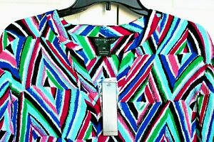 New-Investments-II-Blouse-Top-Multi-Color-Aqua-Pink-Purple-3-4-Sleeve-Size-1X