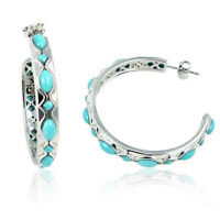 Sterling Silver Semi Hoop Earrings Square Oval Stabilized Turquoise Stones