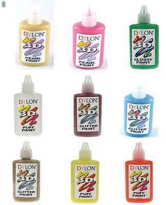DYLON 3D FABRIC PAINT GLOSSY GLITTER PUFF OR PEARL 25ml - 20 COLOURS AVAILABLE